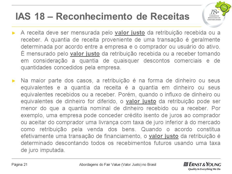 Abordagens do Fair Value (Valor Justo) no BrasilPágina 20 IAS 2 - Estoques O valor realizável líquido é o preço de venda estimado no decurso ordinário