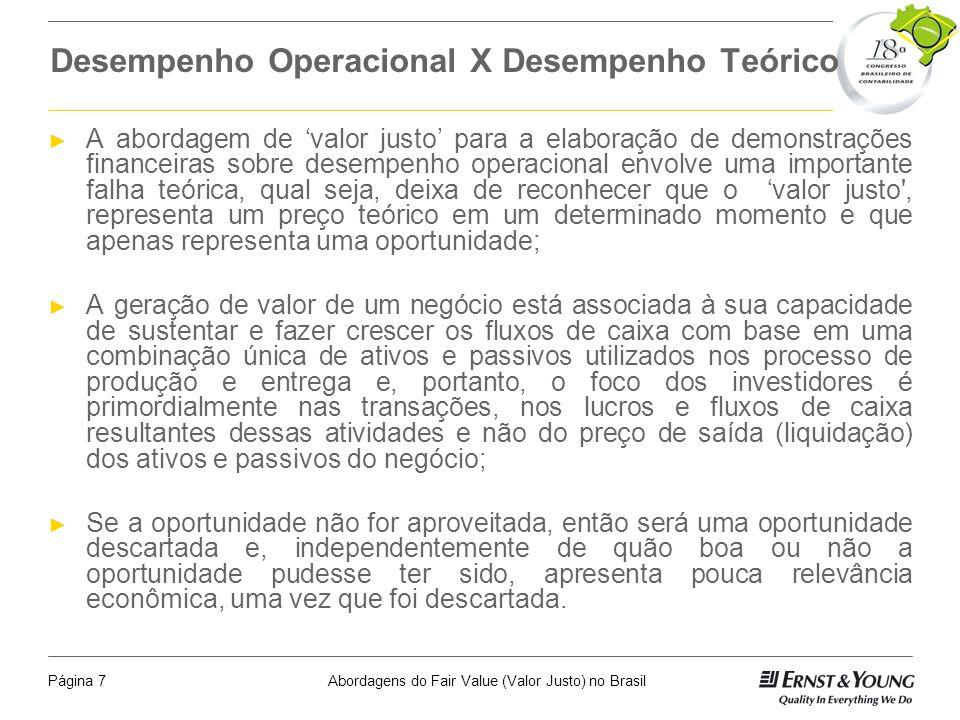Abordagens do Fair Value (Valor Justo) no BrasilPágina 6 Principais Desafios da Implementação Desenvolver estimativas confiáveis Quem desenvolve as es