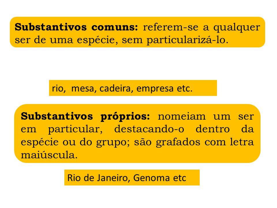 Substantivos concretos: nomeiam seres com existência própria, isto é, que não dependem de outro ser para existir.