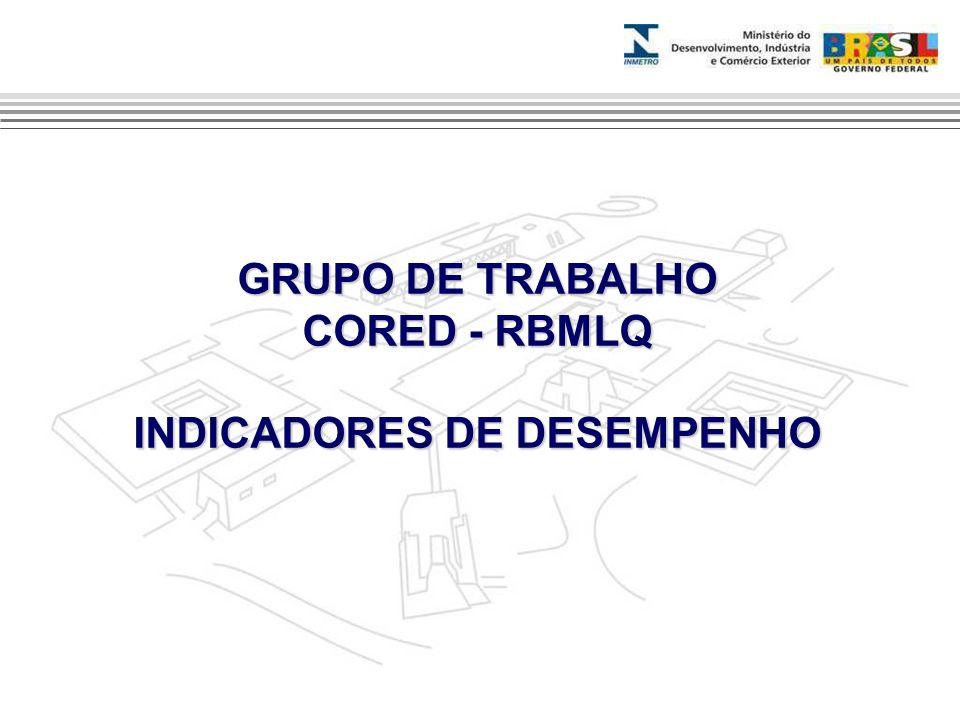 GRUPO DE TRABALHO CORED - RBMLQ INDICADORES DE DESEMPENHO
