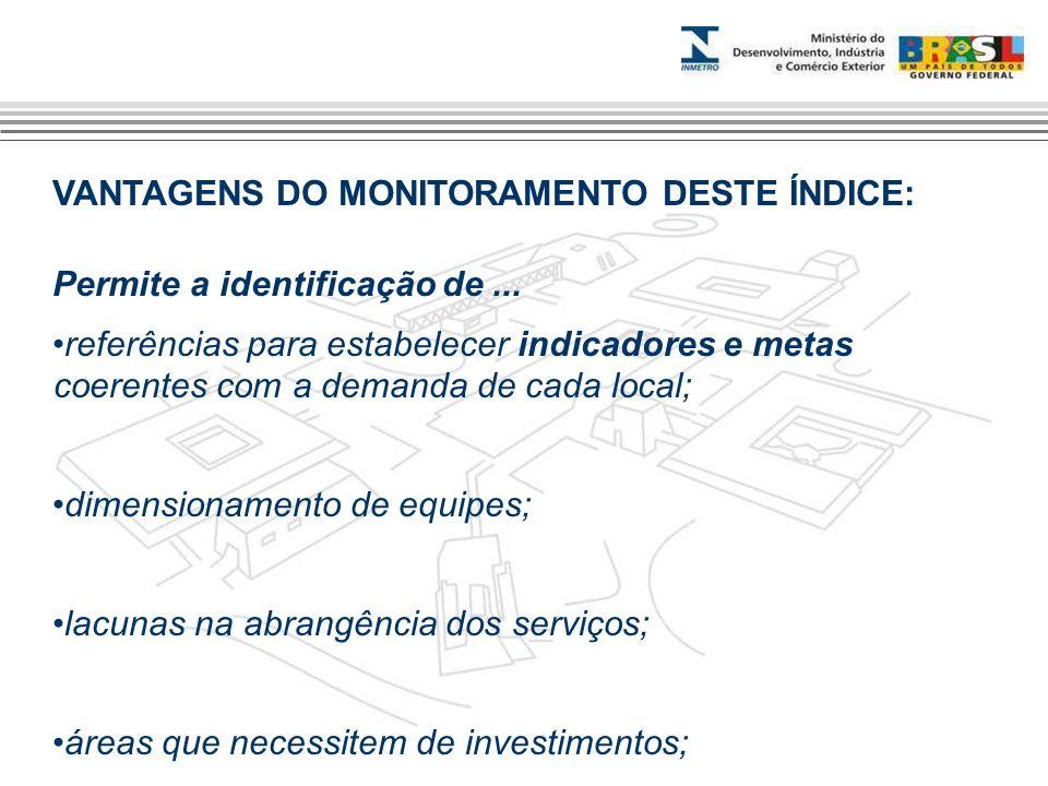 VANTAGENS DO MONITORAMENTO DESTE ÍNDICE: Permite a identificação de... referências para estabelecer indicadores e metas coerentes com a demanda de cad