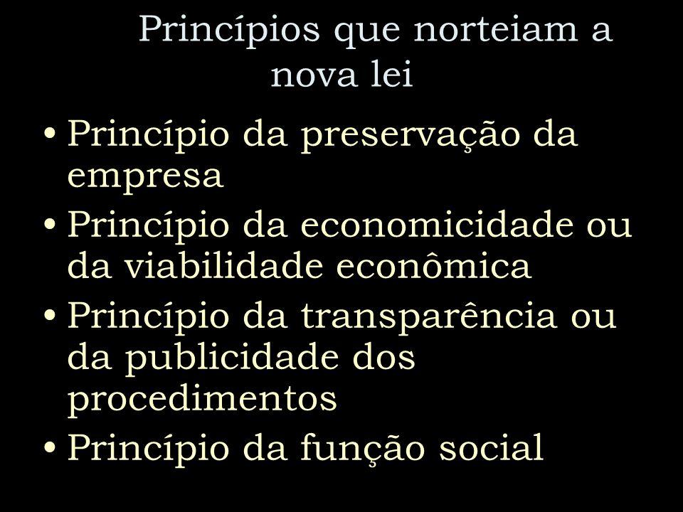Princípios que norteiam a nova lei Princípio da preservação da empresa Princípio da economicidade ou da viabilidade econômica Princípio da transparênc