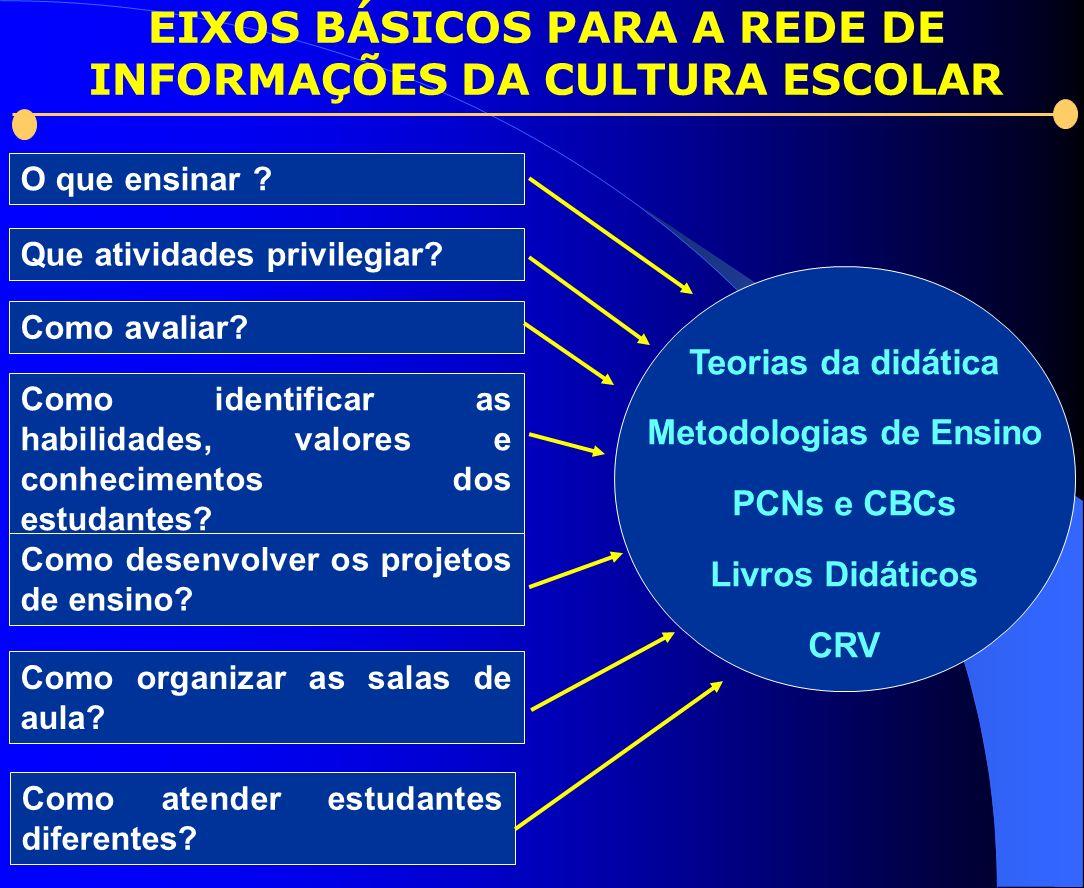 Teorias da didática Metodologias de Ensino PCNs e CBCs Livros Didáticos CRV Que atividades privilegiar? Como avaliar? Como identificar as habilidades,