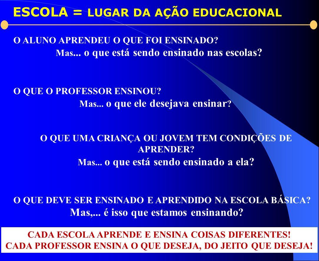 ESCOLA = LUGAR DA AÇÃO EDUCACIONAL O ALUNO APRENDEU O QUE FOI ENSINADO? Mas... o que está sendo ensinado nas escolas? O QUE O PROFESSOR ENSINOU? Mas..