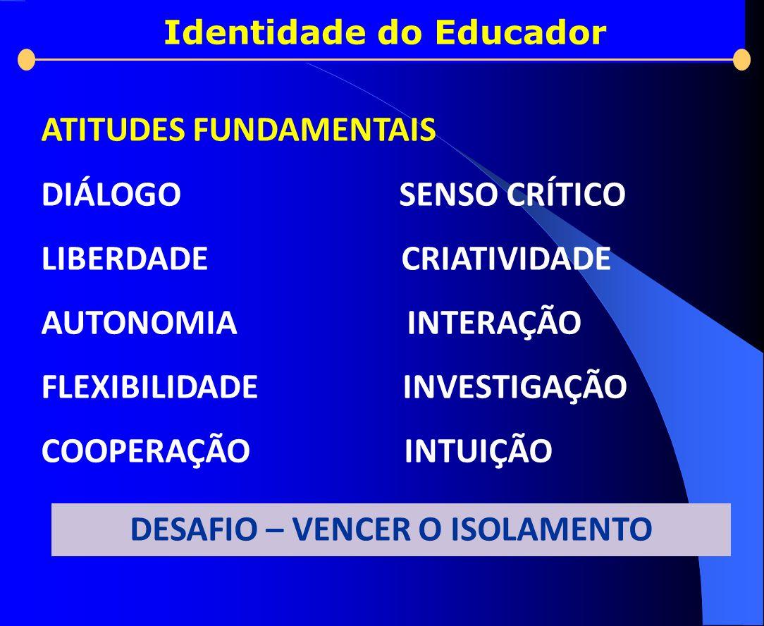 Identidade do Educador ATITUDES FUNDAMENTAIS DIÁLOGO SENSO CRÍTICO LIBERDADE CRIATIVIDADE AUTONOMIA INTERAÇÃO FLEXIBILIDADE INVESTIGAÇÃO COOPERAÇÃO IN