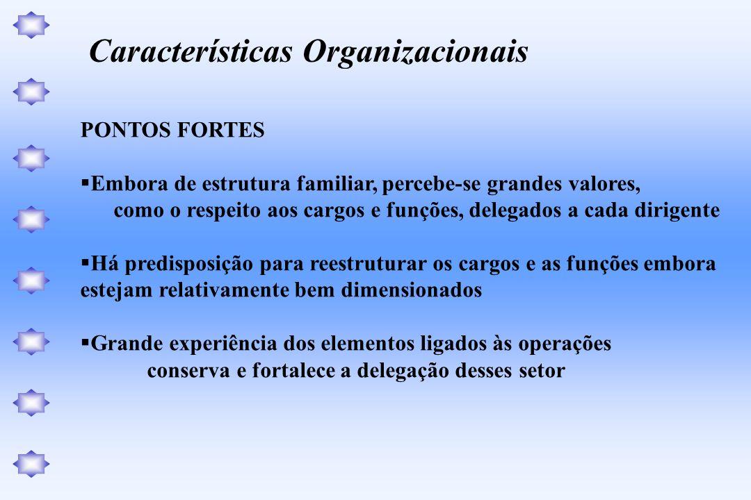 PONTOS FORTES Embora de estrutura familiar, percebe-se grandes valores, como o respeito aos cargos e funções, delegados a cada dirigente Há predisposi