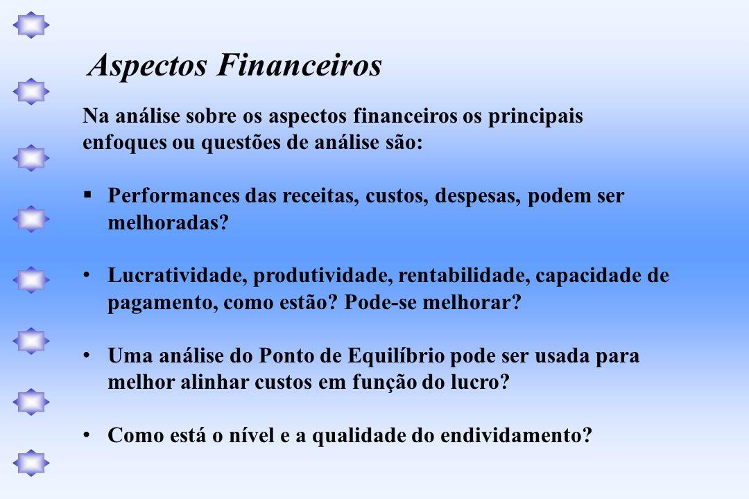 Na análise sobre os aspectos financeiros os principais enfoques ou questões de análise são: Performances das receitas, custos, despesas, podem ser mel