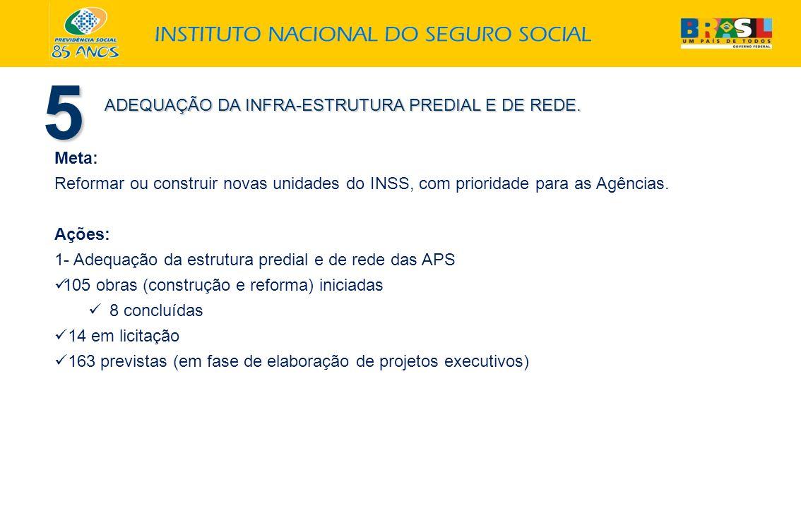 5 ADEQUAÇÃO DA INFRA-ESTRUTURA PREDIAL E DE REDE. Meta: Reformar ou construir novas unidades do INSS, com prioridade para as Agências. Ações: 1- Adequ