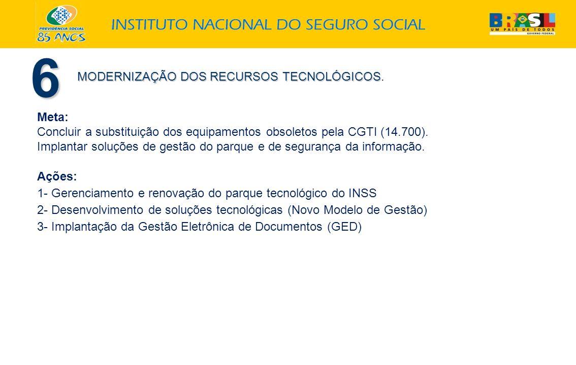 6 MODERNIZAÇÃO DOS RECURSOS TECNOLÓGICOS MODERNIZAÇÃO DOS RECURSOS TECNOLÓGICOS. Meta: Concluir a substituição dos equipamentos obsoletos pela CGTI (1