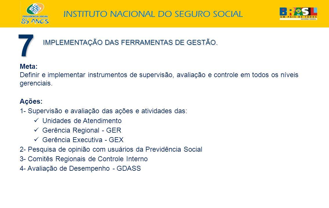 7 IMPLEMENTAÇÃO DAS FERRAMENTAS DE GESTÃO. Meta: Definir e implementar instrumentos de supervisão, avaliação e controle em todos os níveis gerenciais.