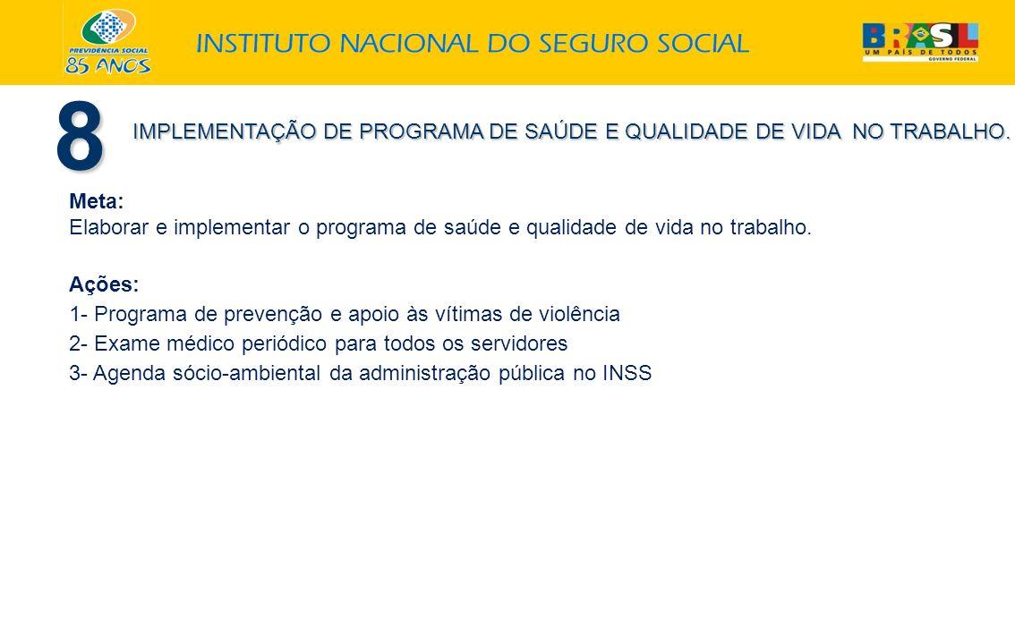 Meta: Elaborar e implementar o programa de saúde e qualidade de vida no trabalho. Ações: 1- Programa de prevenção e apoio às vítimas de violência 2- E