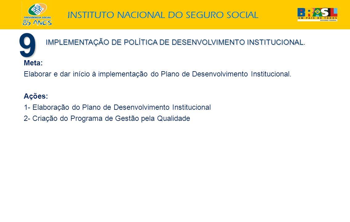 9 Meta: Elaborar e dar início à implementação do Plano de Desenvolvimento Institucional. Ações: 1- Elaboração do Plano de Desenvolvimento Instituciona