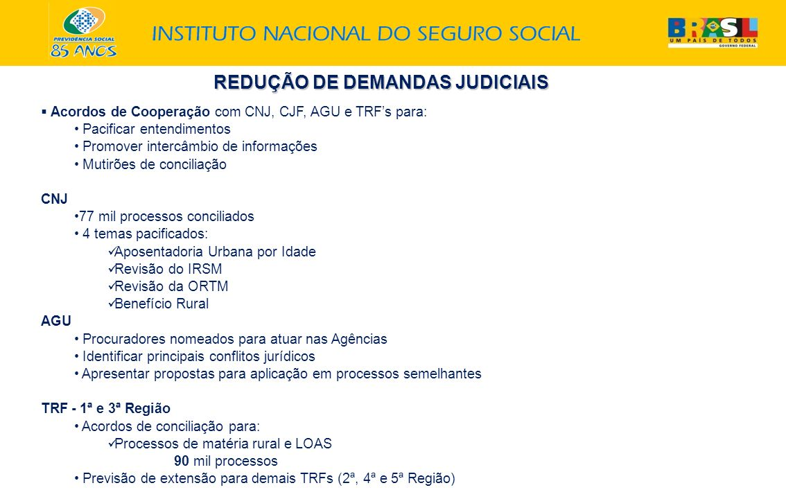 Acordos de Cooperação com CNJ, CJF, AGU e TRFs para: Pacificar entendimentos Promover intercâmbio de informações Mutirões de conciliação CNJ 77 mil pr