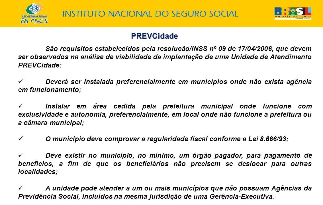 PREVCidade São requisitos estabelecidos pela resolução/INSS nº 09 de 17/04/2006, que devem ser observados na análise de viabilidade da implantação de
