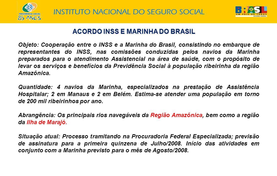 ACORDO INSS E MARINHA DO BRASIL Objeto: Cooperação entre o INSS e a Marinha do Brasil, consistindo no embarque de representantes do INSS, nas comissõe