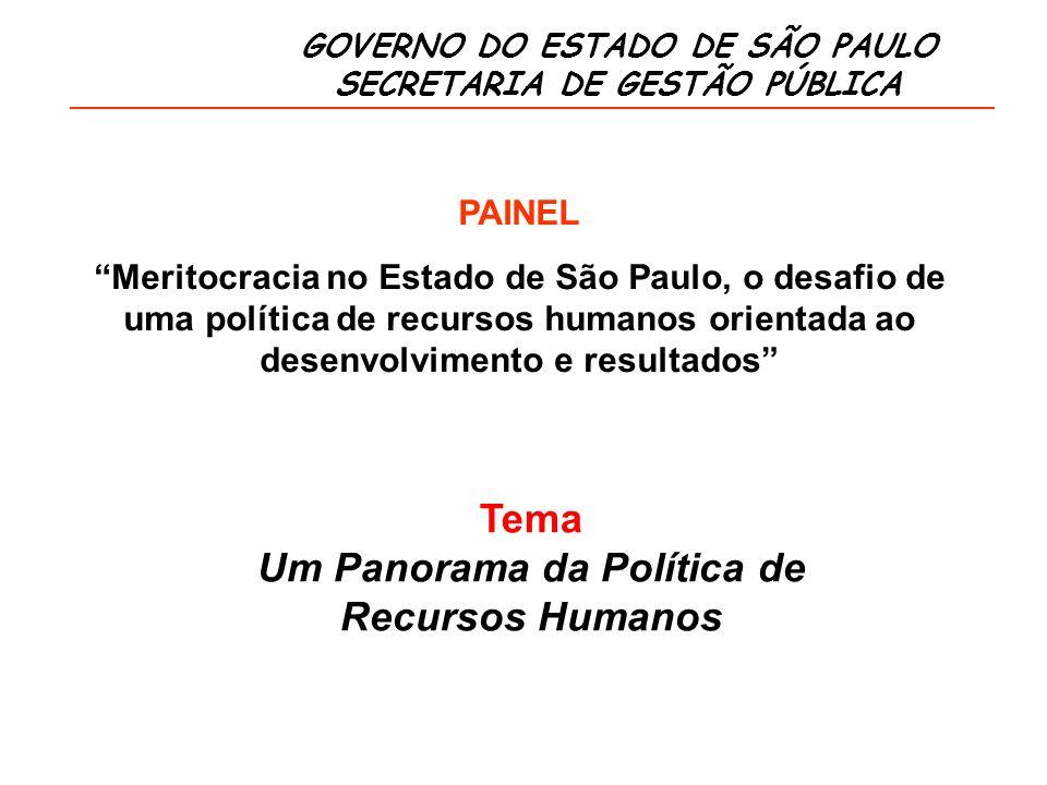 GOVERNO DO ESTADO DE SÃO PAULO SECRETARIA DE GESTÃO PÚBLICA Tema Um Panorama da Política de Recursos Humanos PAINEL Meritocracia no Estado de São Paulo, o desafio de uma política de recursos humanos orientada ao desenvolvimento e resultados