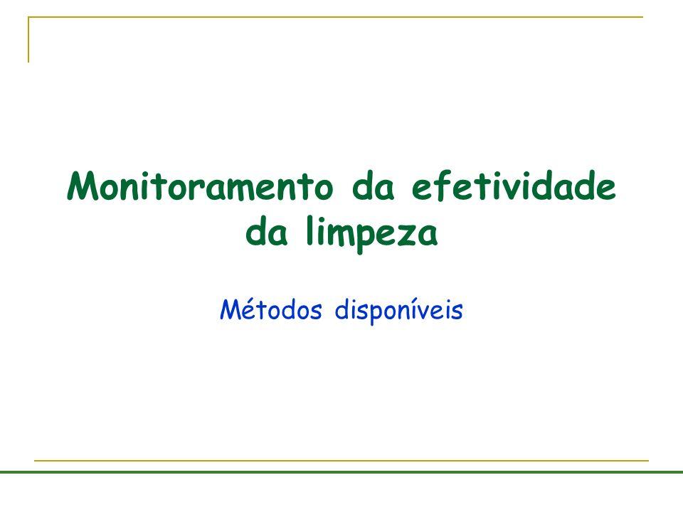 Monitoramento da efetividade da limpeza Métodos disponíveis