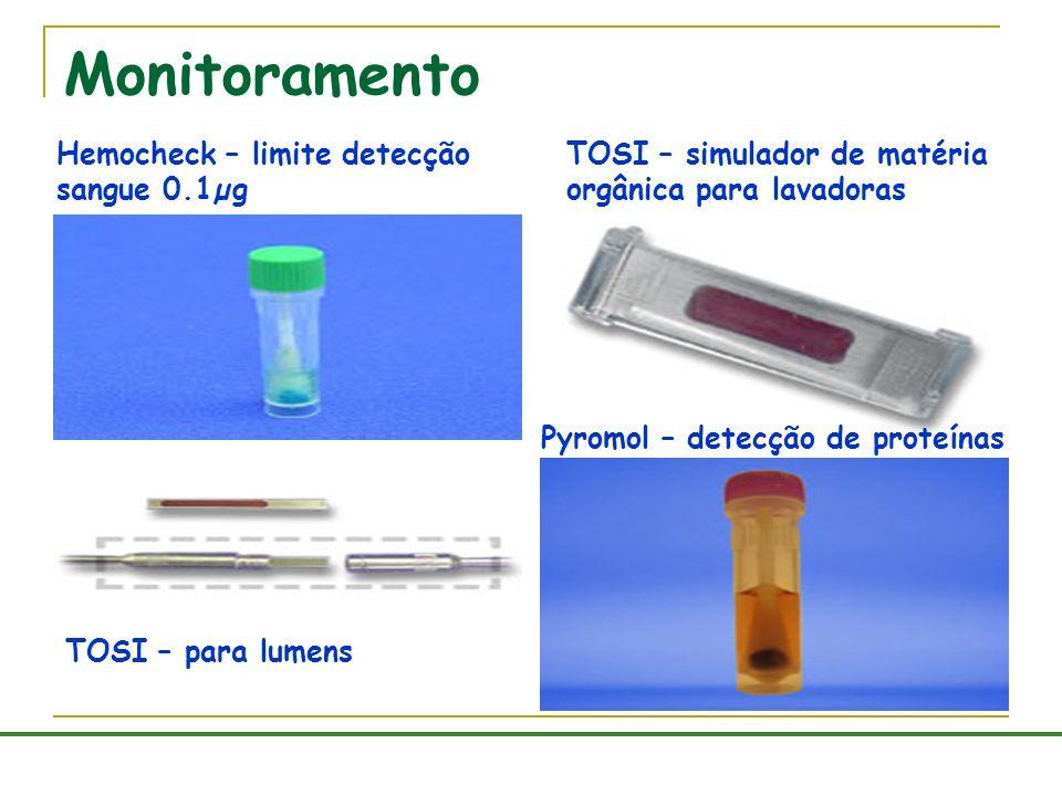 Monitoramento Hemocheck – limite detecção sangue 0.1µg TOSI – simulador de matéria orgânica para lavadoras TOSI – para lumens Pyromol – detecção de pr