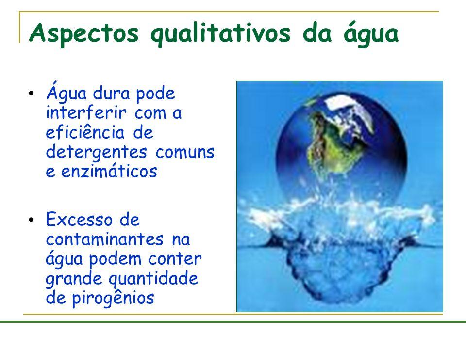 Aspectos qualitativos da água Água dura pode interferir com a eficiência de detergentes comuns e enzimáticos Excesso de contaminantes na água podem co
