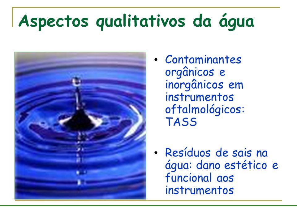 Aspectos qualitativos da água Contaminantes orgânicos e inorgânicos em instrumentos oftalmológicos: TASS Resíduos de sais na água: dano estético e fun