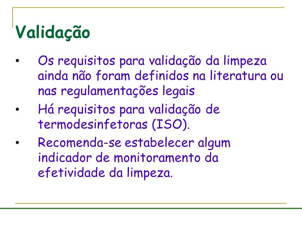 Validação Os requisitos para validação da limpeza ainda não foram definidos na literatura ou nas regulamentações legais Há requisitos para validação d