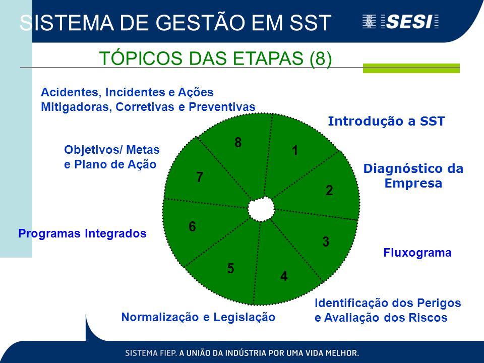 SISTEMA DE GESTÃO EM SST Introdução a SST 1 Diagnóstico da Empresa 2 Fluxograma 3 4 5 6 7 8 Identificação dos Perigos e Avaliação dos Riscos Normaliza