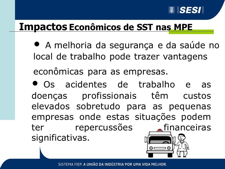 A melhoria da segurança e da saúde no local de trabalho pode trazer vantagens econômicas para as empresas. Impactos Econômicos de SST nas MPE Os acide