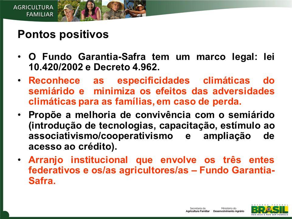 Pontos positivos O Fundo Garantia-Safra tem um marco legal: lei 10.420/2002 e Decreto 4.962. Reconhece as especificidades climáticas do semiárido e mi
