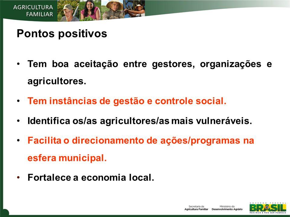 Pontos positivos Tem boa aceitação entre gestores, organizações e agricultores. Tem instâncias de gestão e controle social. Identifica os/as agriculto