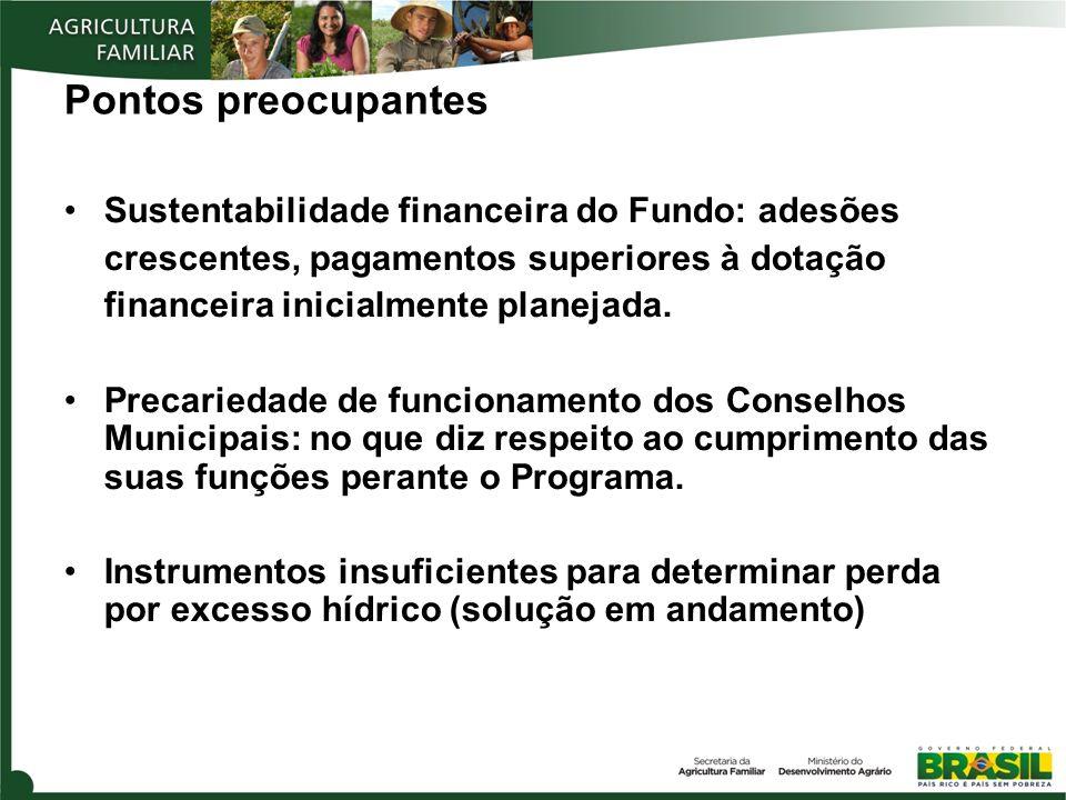 Pontos preocupantes Sustentabilidade financeira do Fundo: adesões crescentes, pagamentos superiores à dotação financeira inicialmente planejada. Preca