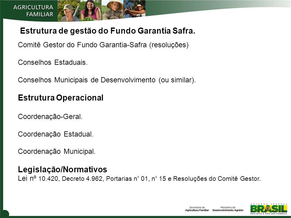 Estrutura de gestão do Fundo Garantia Safra. Comitê Gestor do Fundo Garantia-Safra (resoluções) Conselhos Estaduais. Conselhos Municipais de Desenvolv