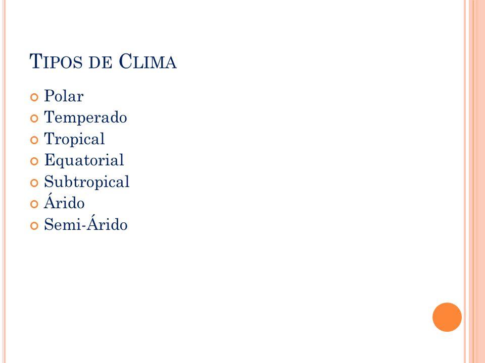 T IPOS DE C LIMA Polar Temperado Tropical Equatorial Subtropical Árido Semi-Árido