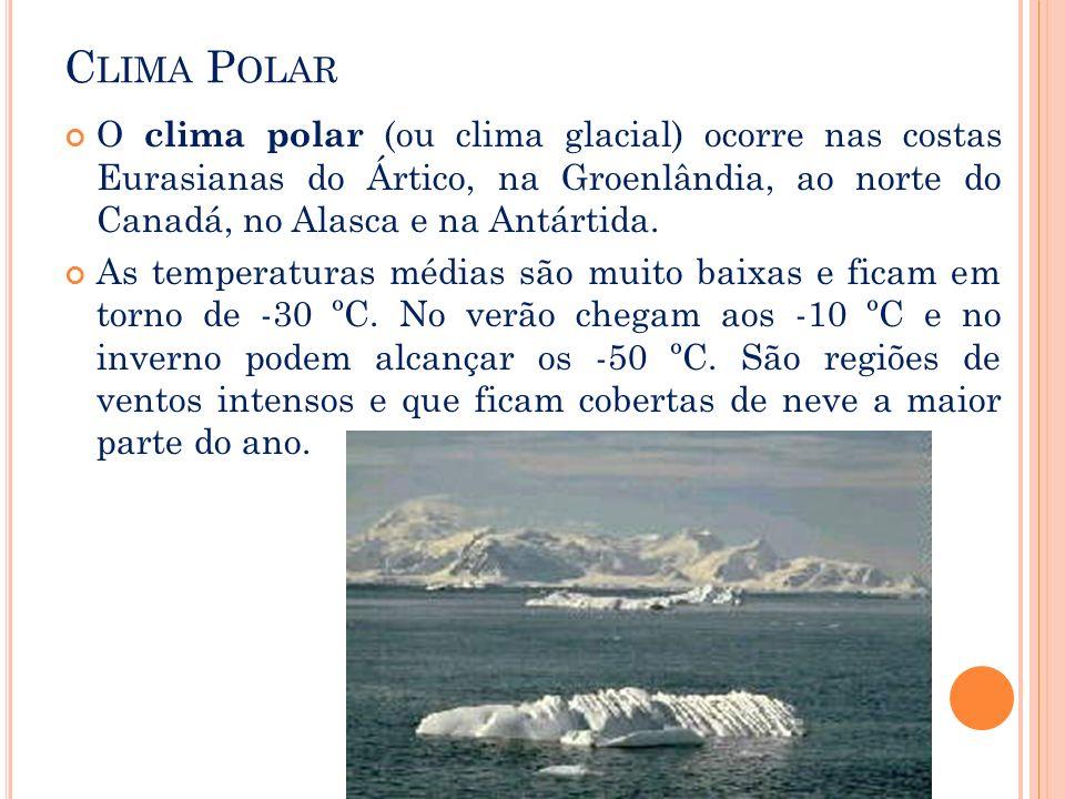 C LIMA P OLAR O clima polar (ou clima glacial) ocorre nas costas Eurasianas do Ártico, na Groenlândia, ao norte do Canadá, no Alasca e na Antártida. A