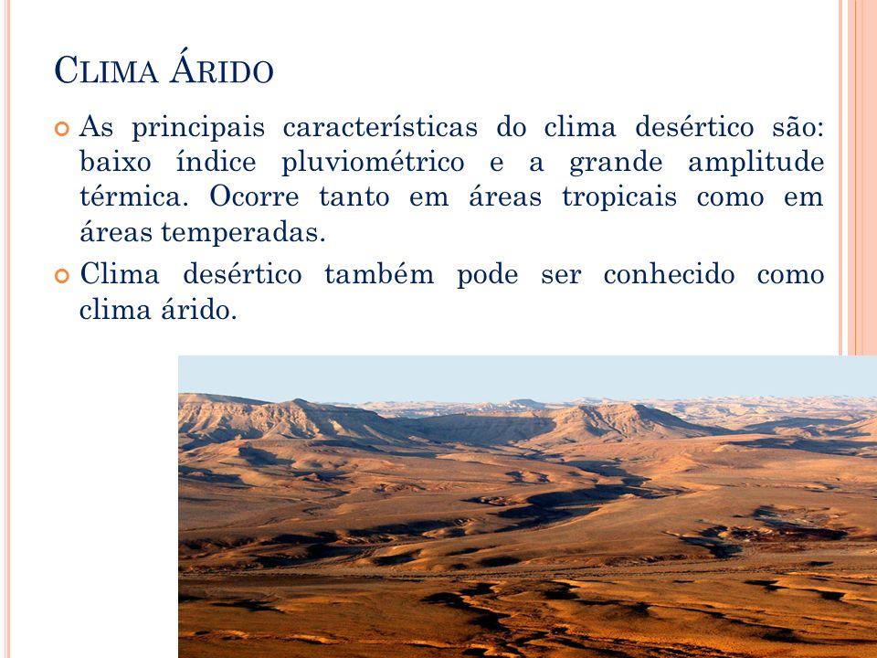 C LIMA Á RIDO As principais características do clima desértico são: baixo índice pluviométrico e a grande amplitude térmica. Ocorre tanto em áreas tro