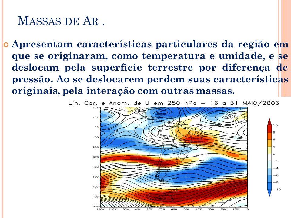 M ASSAS DE A R. Apresentam características particulares da região em que se originaram, como temperatura e umidade, e se deslocam pela superfície terr
