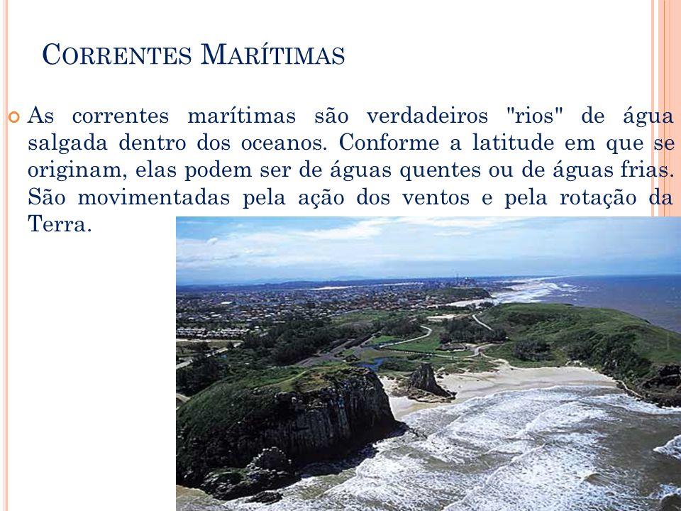 C ORRENTES M ARÍTIMAS As correntes marítimas são verdadeiros