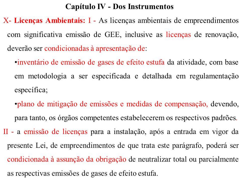 X- Licenças Ambientais: I - As licenças ambientais de empreendimentos com significativa emissão de GEE, inclusive as licenças de renovação, deverão se