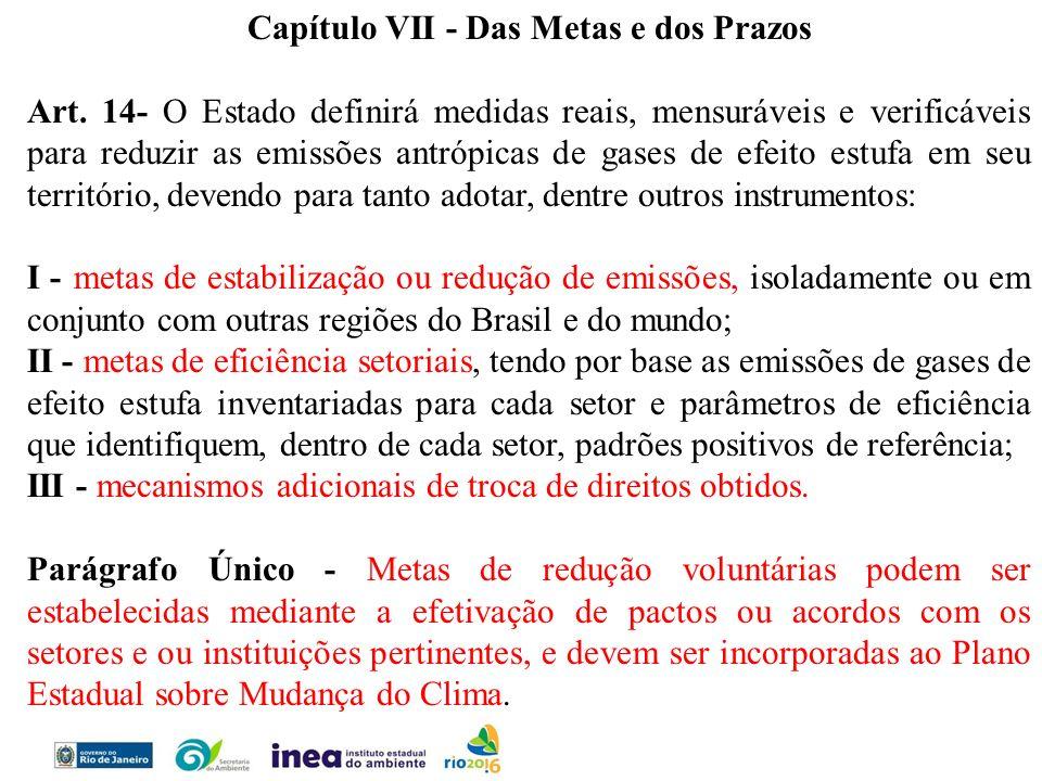 Capítulo VII - Das Metas e dos Prazos Art. 14- O Estado definirá medidas reais, mensuráveis e verificáveis para reduzir as emissões antrópicas de gase