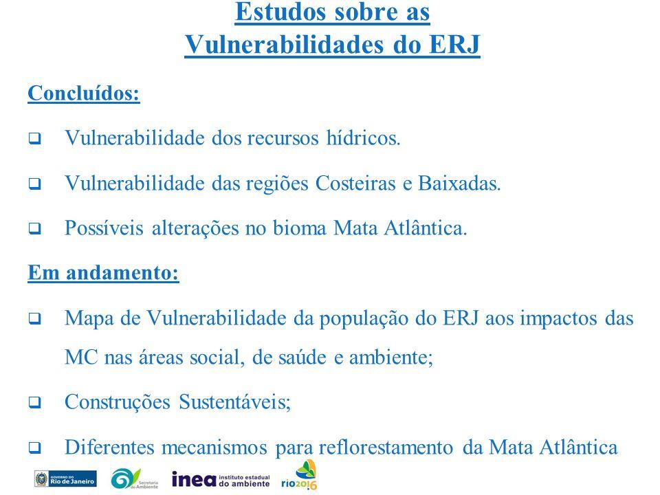 Estudos sobre as Vulnerabilidades do ERJ Concluídos: Vulnerabilidade dos recursos hídricos. Vulnerabilidade das regiões Costeiras e Baixadas. Possívei