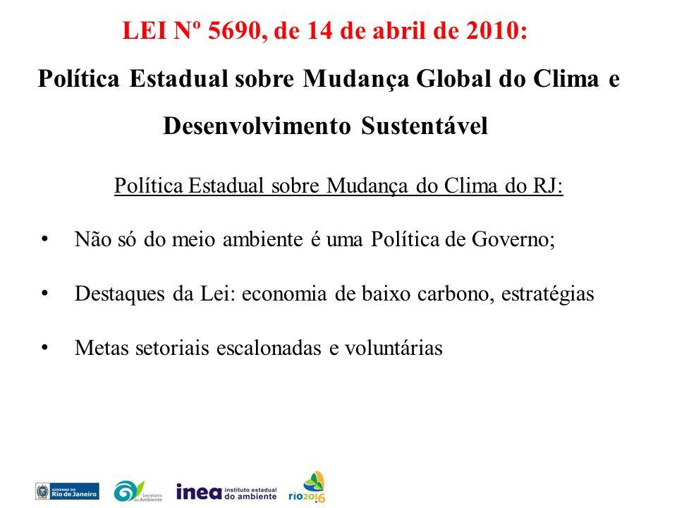 Política Estadual sobre Mudança do Clima do RJ: Não só do meio ambiente é uma Política de Governo; Destaques da Lei: economia de baixo carbono, estrat