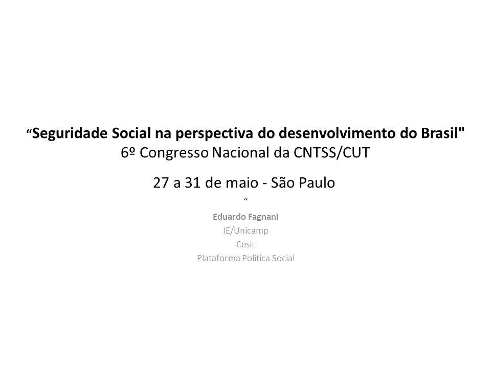 Seguridade Social na perspectiva do desenvolvimento do Brasil 6º Congresso Nacional da CNTSS/CUT 27 a 31 de maio - São Paulo Eduardo Fagnani IE/Unicamp Cesit Plataforma Política Social