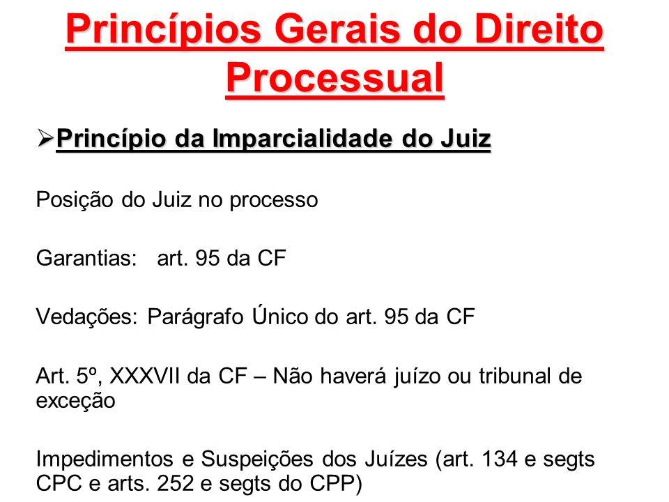 Princípios Gerais do Direito Processual Princípio da Imparcialidade do Juiz Princípio da Imparcialidade do Juiz Posição do Juiz no processo Garantias: