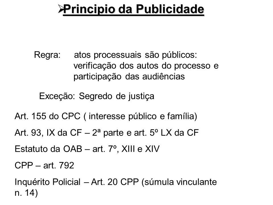 Principio da Publicidade Principio da Publicidade Regra: atos processuais são públicos: verificação dos autos do processo e participação das audiência