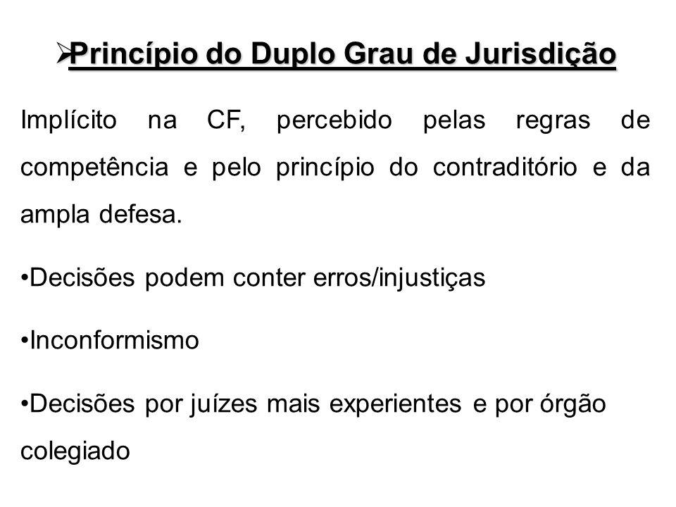 Princípio do Duplo Grau de Jurisdição Princípio do Duplo Grau de Jurisdição Implícito na CF, percebido pelas regras de competência e pelo princípio do