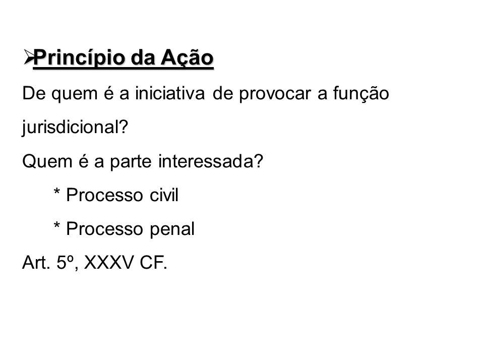 Princípio da Ação Princípio da Ação De quem é a iniciativa de provocar a função jurisdicional? Quem é a parte interessada? * Processo civil * Processo