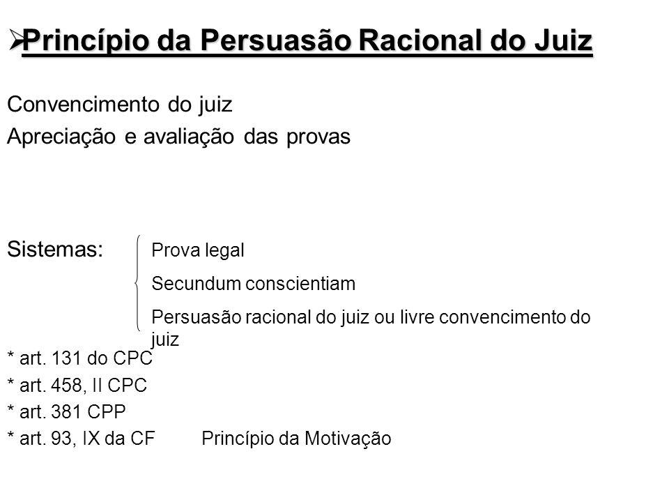Princípio da Persuasão Racional do Juiz Princípio da Persuasão Racional do Juiz Convencimento do juiz Apreciação e avaliação das provas Sistemas: * ar