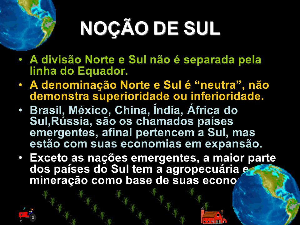 NOÇÃO DE SUL A divisão Norte e Sul não é separada pela linha do Equador. A denominação Norte e Sul é neutra, não demonstra superioridade ou inferiorid