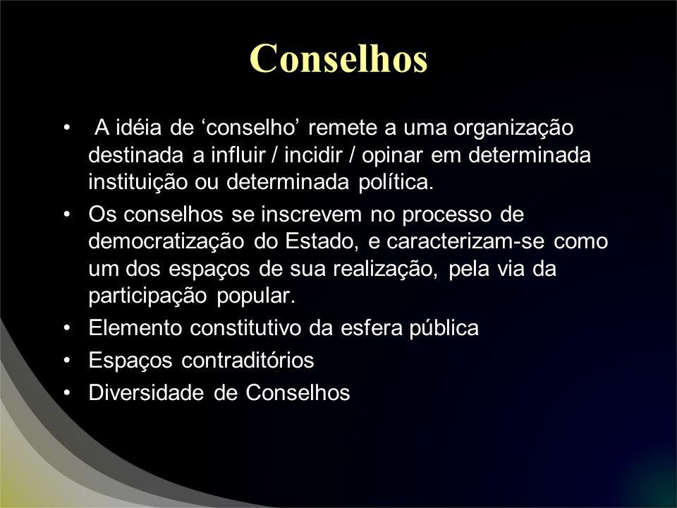 Conselhos A idéia de conselho remete a uma organização destinada a influir / incidir / opinar em determinada instituição ou determinada política. Os c