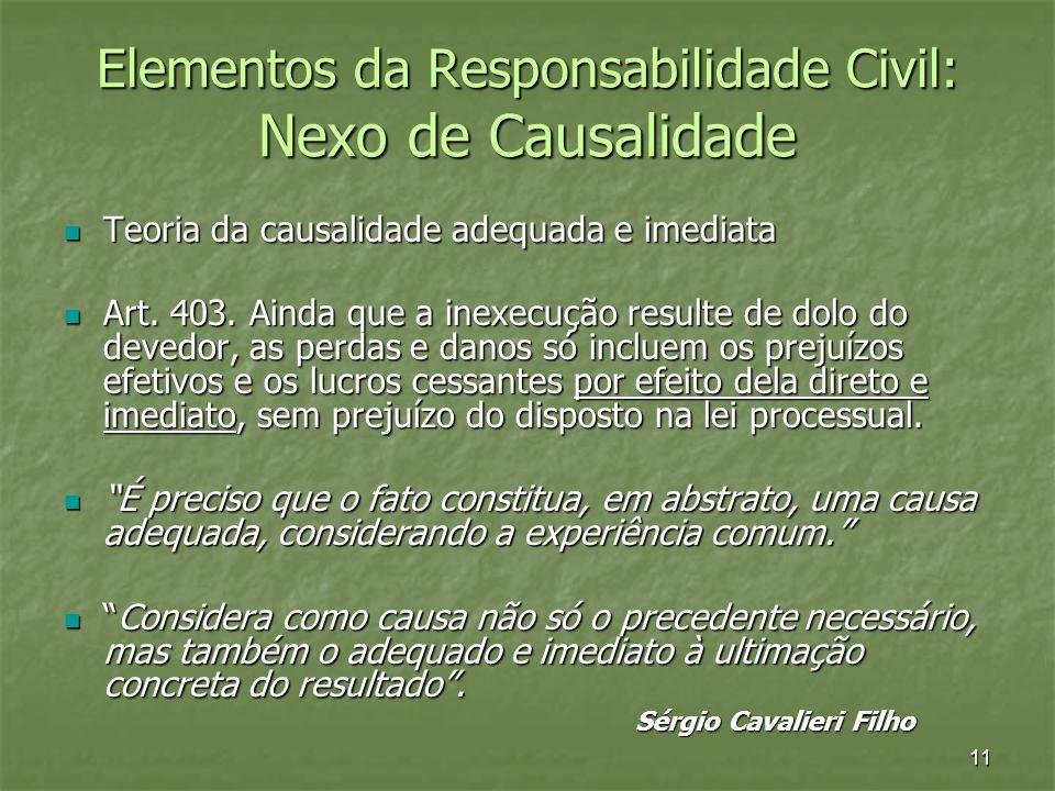 11 Elementos da Responsabilidade Civil: Nexo de Causalidade Teoria da causalidade adequada e imediata Teoria da causalidade adequada e imediata Art. 4