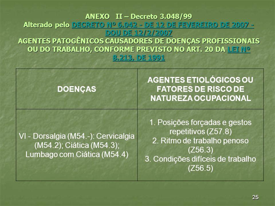 25 ANEXO II – Decreto 3.048/99 Alterado pelo DECRETO Nº 6.042 - DE 12 DE FEVEREIRO DE 2007 - DOU DE 12/2/2007 AGENTES PATOGÊNICOS CAUSADORES DE DOENÇA